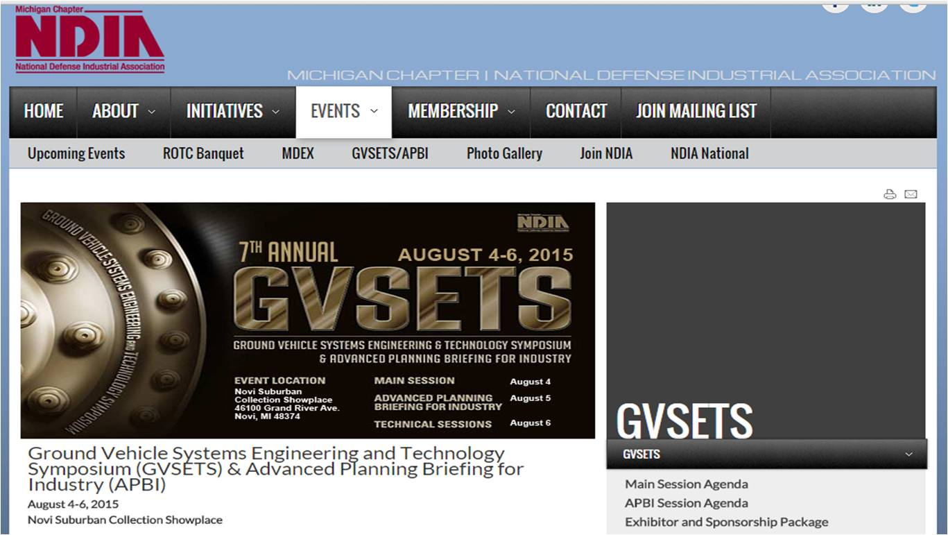 """Ground Vehicle Systems Engineering and Technology Symposium (GVSETS)"""